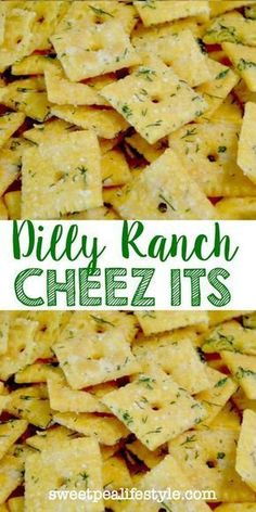 These Dilly Ranch Cheez Its will be such a hit at your next party! Cool ranch seasoning, fresh dill, and cheese crackers -- this make ahead a recipe is a crowd pleaser! snacks, Dilly-Ranch Cheez Its Snack Mix Recipes, Yummy Snacks, Appetizer Recipes, Cooking Recipes, Yummy Food, Snack Mixes, Cheez It Snack Mix Recipe, Healthy Salty Snacks, Cooking Ham