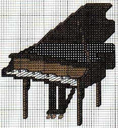 piano, pianoforte - punto croce - cross Stitch - Kreuzstich - Punto de Cruz