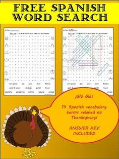 Free Word Search with Spanish Thanksgiving words Free Spanish Lessons, Spanish Lesson Plans, Free Lesson Plans, Spanish 1, Thanksgiving Word Search, Thanksgiving Words, Middle School Spanish, Elementary Spanish, Elementary Schools