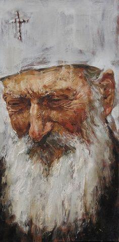 """Serbian Patriarch Pavle"" 81х41 cm, oil on canvas, 2014. Anatoly Shumkin."