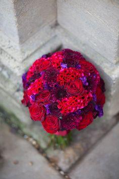 A perfect pave of fuschia, reds and plums. Roses, celosia & dahlias.