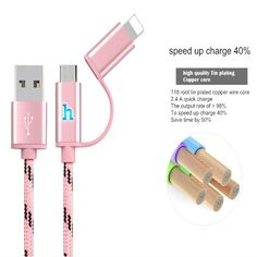 HOCO 5V 2.4A Intelligent Lamp Micro USB Cable Nylon USB Charger sync Data Cable for iPhone 6 6s 5 5s Cable for Xiaomi Tablet