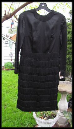 Black Vintage FRINGE dress