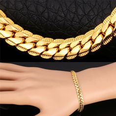 Gold Plated Bracelet  High Quality Chain Bracelets yellow Gold Plated  5MM 21CM Fashion Men Jewelry H739