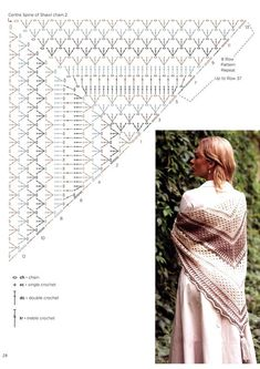 Crochet Beautiful Shawl - pattern crochet shawl 2 The Effective Pictures We Offer You About Beauty room A quality picture ca - Crochet Shawl Diagram, Crochet Shawl Free, Crochet Shawls And Wraps, Crochet Scarves, Crochet Clothes, Crocheted Scarf, One Skein Crochet, Crochet Lace, Shawl Patterns
