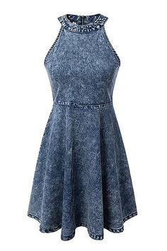 Sleeveless Halter Denim Midi Dress - US$25.95 -YOINS