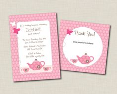 Printable Birthday Party Invitation & Thank You by doodleprints, $10.00