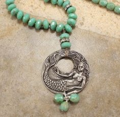 Bohemian Mermaid Necklace Silver Green by singingcatstudio on Etsy, $60.00