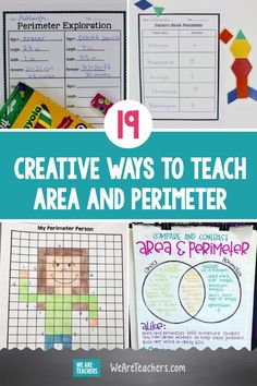 19 Creative Ways to Teach Area and Perimeter. Help students learn the similarities and differences of area and perimeter, and then use fun activities to calculate both. Teaching Geometry, Geometry Activities, Math Activities, Student Learning, Teaching Math, Fun Learning, Teacher Education, Creative Teaching, Area And Perimeter Games