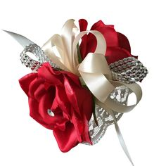 Wrist corsage- Apple Red Roses with Ivory Ribbon and Bling
