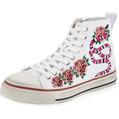 Ash Vanina Embroidered High-Top Sneaker (890.865 IDR) ❤ liked on Polyvore featuring shoes, sneakers, floral flats, floral sneakers, platform shoes, floral high top sneakers and high top platform sneakers