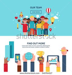 Teamwork and human resources website hero image concept. Website banner and landing page design