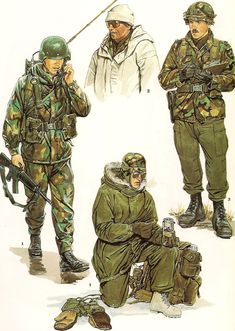 1.- Extended Cold Weather Clothing  System, 10th Mountain Division,( Light Infantry) Ft. Drum., New York.  2.- Snow Camouflage , 25th Infantry Division ,( Light), Camp Kami Furano, Japan.  3.- Cold- West Uniform, 2nd Infantry Division., South Korea..  4.- Cold - Dry  Uniform, 6th Infantry Division  (Light ) , Ft. Richardson. Alaska