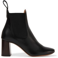 Chloé Chloé - Leather Boots - Black (€370) found on Polyvore featuring women's fashion, shoes, boots, ankle booties, leather boots, black ankle booties, black boots, black booties and slip on boots