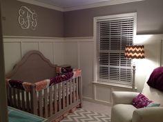 gray purple and orange nursery