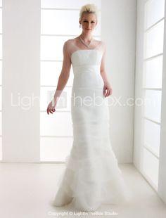 Trumpet/ Mermaid Off-the-shoulder Sweep/ Brush Train Tulle Wedding Dress - USD $197.99