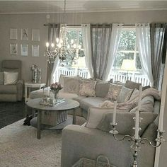 The sheer curtains are just perfect in this room.  Drapes would have been overpowering.  Light weight sheers tied back are perfect.