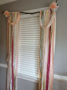 Shabby Chic Rustic Rag Curtain Window Treatment Panels attached to Branch - Anthropologie Inspired - OOAK, Repurposed, Upcycled Textiles