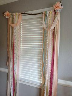 Rustic Rag Curtain Window Treatment - an idea