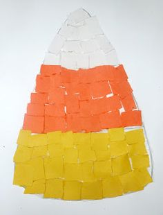 Craft: Torn Paper Candy Corn - Pinned by @PediaStaff – Please Visit ht.ly/63sNtfor all our pediatric therapy pins
