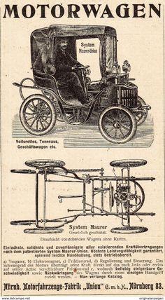 Werbung - Original-Werbung/ Anzeige 1902 - MAURER - UNION MOTORWAGEN - NÜRNBERG - ca. 90 x 160 mm