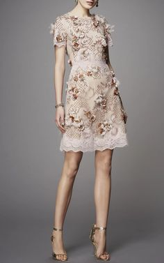 Floral Embellished Cocktail Dress by MARCHESA Now Available on Moda Operandi