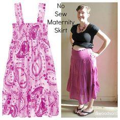 DIY No Sew Maternity Skirt