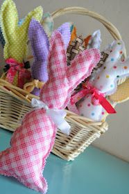 Scrap bunnies...will be making a basketful for next year! Cute gift idea...love the monogrammed linen ones, too!!
