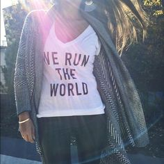 Last one! 1 sm left! We Run the World tee Pre-shrunk, fitted tee (fits about 1 size smaller in my opinion). Limited quantities available in S, L, and XL. Per T&J designs, small is equivalent to 2-4, L to 8-10, and XL to 10-12. I wear 6 or 8 usually and can fit in small (tighter) but prefer medium for a bit of a looser fit. Medium sold out. T&J Designs Tops Tees - Short Sleeve
