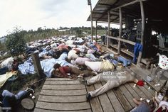 The Reverend Jim Jones' bloated body lies on the ground (on planks) along with his followers after it was hastily sewn together after his autopsy by officials at the compound of the People's Temple cult November 18, 1978 in Jonestown, Guyana. Over 900 members of the cult, commanded by Reverend Jim Jones, died from drinking cyanide-laced Kool Aid November 18, 1978; they were victims of the largest mass suicide in modern history.
