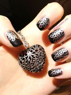 silver filigree,,,omgkitties #nail #nails #nailart