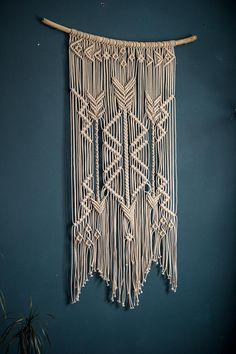 Macramé grand mur suspendu flèche Tribal moderne en macramé