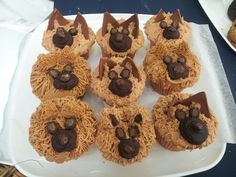German shepherd cupcakes! Themed Birthday Cakes, Themed Cupcakes, First Birthday Cakes, Cupcake Art, Cupcake Cakes, Puppy Cupcakes, Cupcake Heaven, Retirement Parties, Food Themes