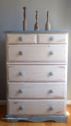 "Beachy dresser from plain dresser! Painted ""sand dollars"" on handles"