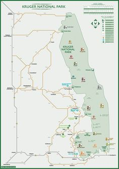 Map of Kruger National Park, South Africa - Excluding the adjoining wildlife area of Mocambique on the eastern border and the private parks on the western side of Kruger. Travel Maps, Africa Travel, Kruger National Park, National Parks, Open Spaces, Paladin, Travel Photographer, Camps, Wildlife Photography