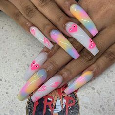 Acrylic Nails Coffin Pink, Short Square Acrylic Nails, Summer Acrylic Nails, Coffin Nails, Edgy Nails, Bling Nails, Swag Nails, Drip Nails, Glow Nails