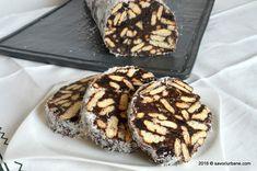Salam de biscuiti reteta copilariei | Savori Urbane Cacao Beans, Doughnut, Biscuit, Sweet Tooth, Muffin, Cooking Recipes, Favorite Recipes, Sweets, Vegan
