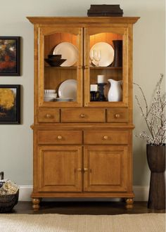 Owensboro Rustic Buffet & Hutch China Cabinet with Slate Look Tile ...