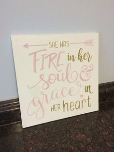 She has fire in her soul and grace in her heart wood sign girl nursery wall decor toddler room decor tween room decor pink and gold nursery Nursery Wall Decor, Girl Nursery, Diy Room Decor, Bedroom Decor, Bedroom Ideas, Warm Bedroom, Magical Bedroom, Nursery Signs, Baby Decor