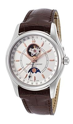 Frederique Constant FC-335V6B6 Men's Classics Moontimer Silver Dial Brown… http://www.thesterlingsilver.com/product/hugo-boss-1513041-ambassador-wristwatch-mens-leather-band-colour-grey/