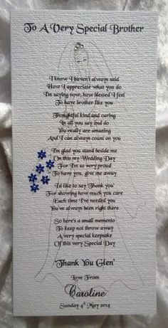 Thank You For Giving Me Away - Handmade Personalised Wedding Keepsake Poem Card £3.95