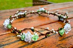 Ooh this one has green flowers! BRENDA LEE Mint Green/White mini rose head by BoutiquebyBrendaLee, $36.90