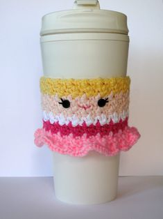 Free Crochet Sleeping Beauty coffee cup cozy pattern by The Enchanted Ladybug Crochet Coffee Cozy, Coffee Cup Cozy, Crochet Cozy, Quick Crochet, Crochet Gifts, Free Crochet, Coffee Cups, Hot Coffee, Crochet Beanie