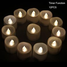 Xabl Battery Led Candles With Timer - 12 Small Flickering Flameless Tealight With Timer, 6 Hours On And 18 Hours Off, Dia. 1.4X1.6 Height, Electric Candles, Votive Candles, Centerpieces, Wedding Decoration, Christmas Decoration  12 pieces per set #battery-powered warm white #LED #tealights with timer provide realistic flickering light *Smoke-free, flamless and safe with on/off switch on the bottom