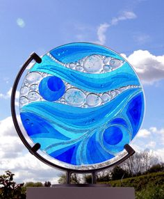 Abstract disc - fused glass - glass sculpture