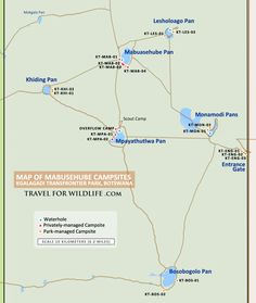 Kgalagadi Transfrontier Park Map, with detailed Mabuasehube campsites map