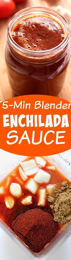 5-Minute Blender Enchilada Sauce Recipe - homemade enchilada sauce made with just 7 ingredients is my new favorite diy recipe. I will never buy it in a can again!