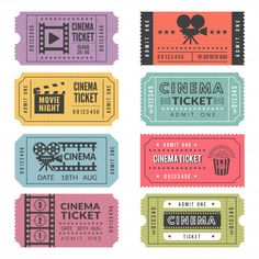 Template of cinema tickets. Vector designs of various cinema tickets with illustrations of video cameras and other tools. Ticket to entertainment cinema, movie film , Journal Stickers, Planner Stickers, Ticket Cinema, Cinema Cinema, Cinema Room, Ticket Design, Digital Journal, Movie Tickets, Concert Tickets