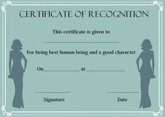 Certificate of Recognition Templates: Best Ideas and Free Samples - Demplates Certificate Of Recognition Template, Certificate Templates, Certificate Of Appreciation, Free Samples, Are You The One, Abs, Good Things, Model, Ideas