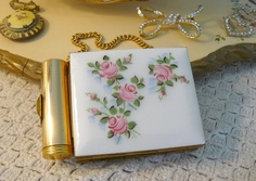 Guilloche compact purse with pink roses. Included compact, card case and lipstick holder.
